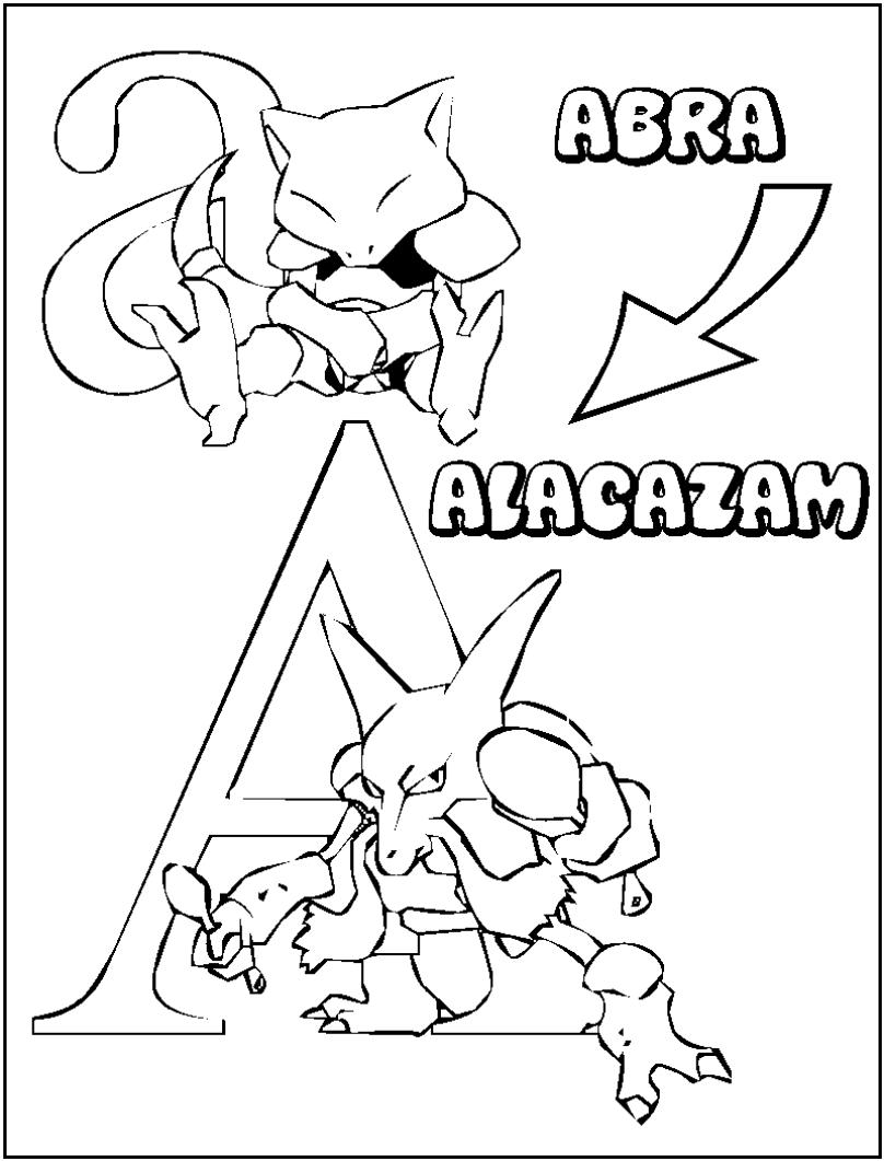Abra Pokemon Coloring Pages Printable Free Pokemon