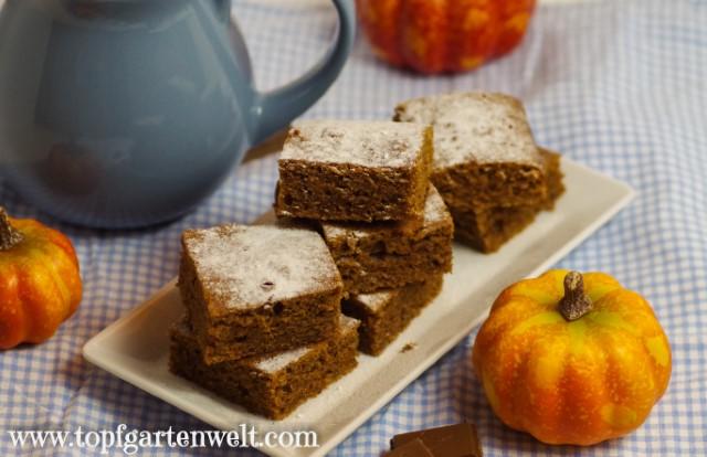 Saftiger Kürbiskuchen mit Schokolade - Foodblog Topfgartenwelt