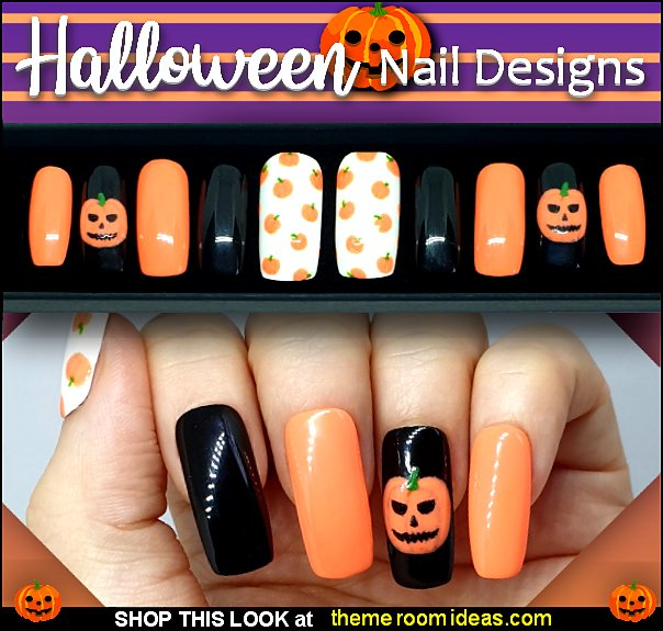 Halloween Pumpkin Set Nails pumpkin nails Halloween Nail Stickers - Nail Art Decals - Halloween Nail Decals