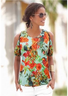 guia de moda feminina blusa estampada