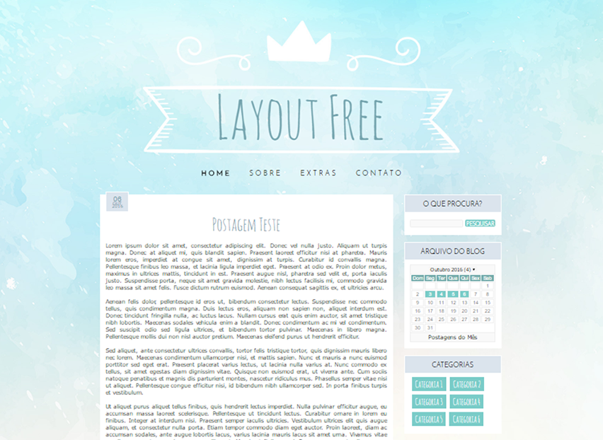 Layout para Blogger Blue Watercolor - Template Grátis