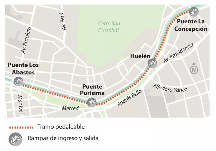 Ciclovía del Río Mapocho tendrá tres accesos y grandes rampas