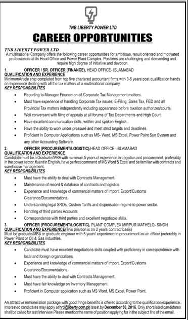 Tnb Liberty Power Ltd Islamabad Jobs