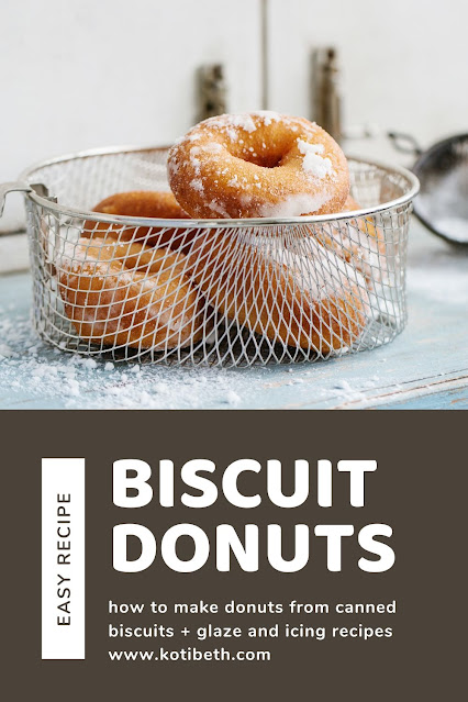 How to make homemade doughnuts easy recipe fried on the stove top. Make donuts from canned biscuits like Pillsbury grand refrigerator biscuits. This biscuit donut recipe make round doughnuts and donut holes. Make them with cinnamon sugar or add a glaze in vanilla or chocolate with the included easy recipes. Homemade easy canned buscuit doughnuts. #recipe #donut #doughnut