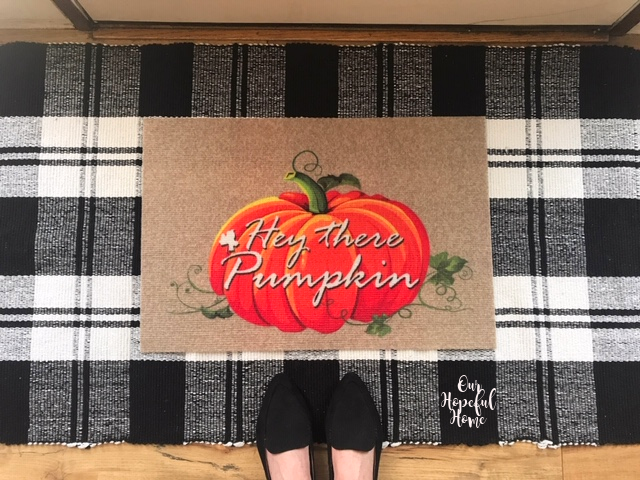 Hey there Pumpkin door mat buffalo check throw rug