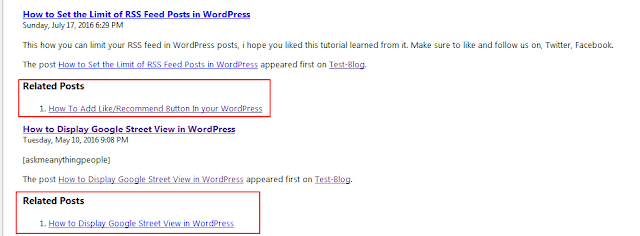 related posts for RSS in WordPress