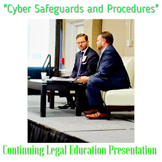 Cyber Safeguards and Procedures Continuing Legal Education Presenation image showing Matt Cordell and Troy Crawford on stage