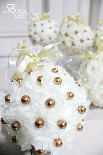 Flower Balls made Accessorized in Pearls