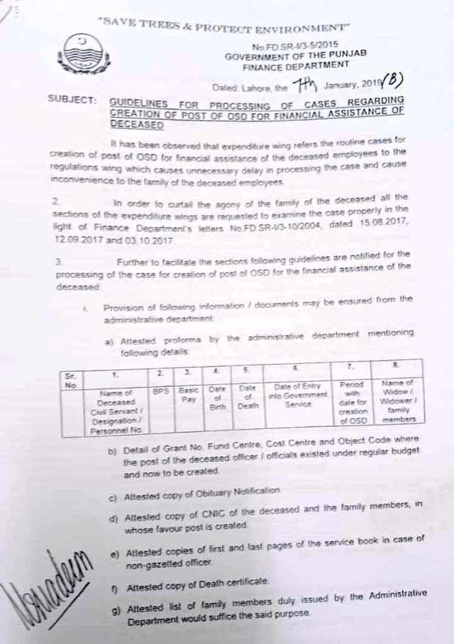 GUIDELINES FOR PROCESSION OF CASES REGARDING CREATION OF POST OF OSD FOR FINANCIAL ASSISTANCE OF DECEASED