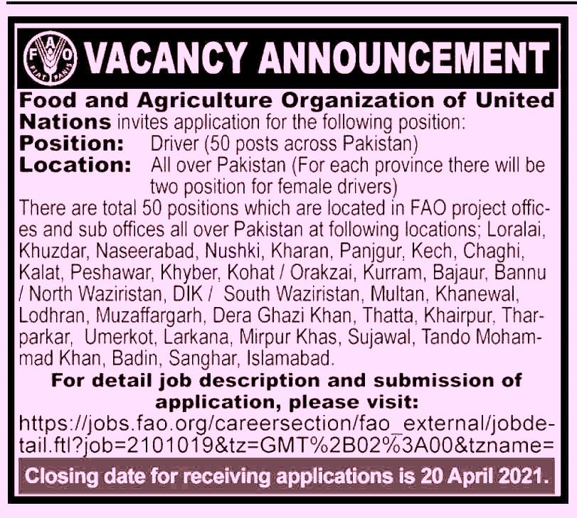 FAO Food & Agriculture organization Jobs 2021 in Pakistan