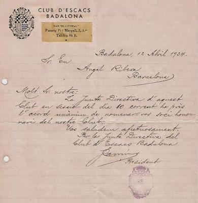 Carta del Club d'Escacs Badalona, nombrándolo socio de honor en 1934