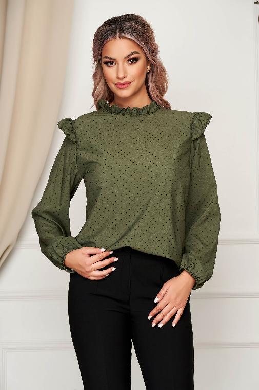 Bluza office dama verde-inchis cu croi larg cu volanase si buline