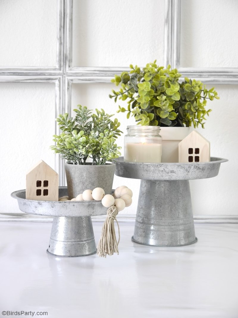 DIY Farmhouse Stands and Risers - easy craft projects using thrift store items and recycled materials to create pretty home decor stands! by BirdsParty.com @birdsparty #diy #crafts #homedecor #farmhousedecor #farmhousestyle #risers #stands #cakestands #diyfarmhousedecor #modernfarmhouse #farmhouserisers