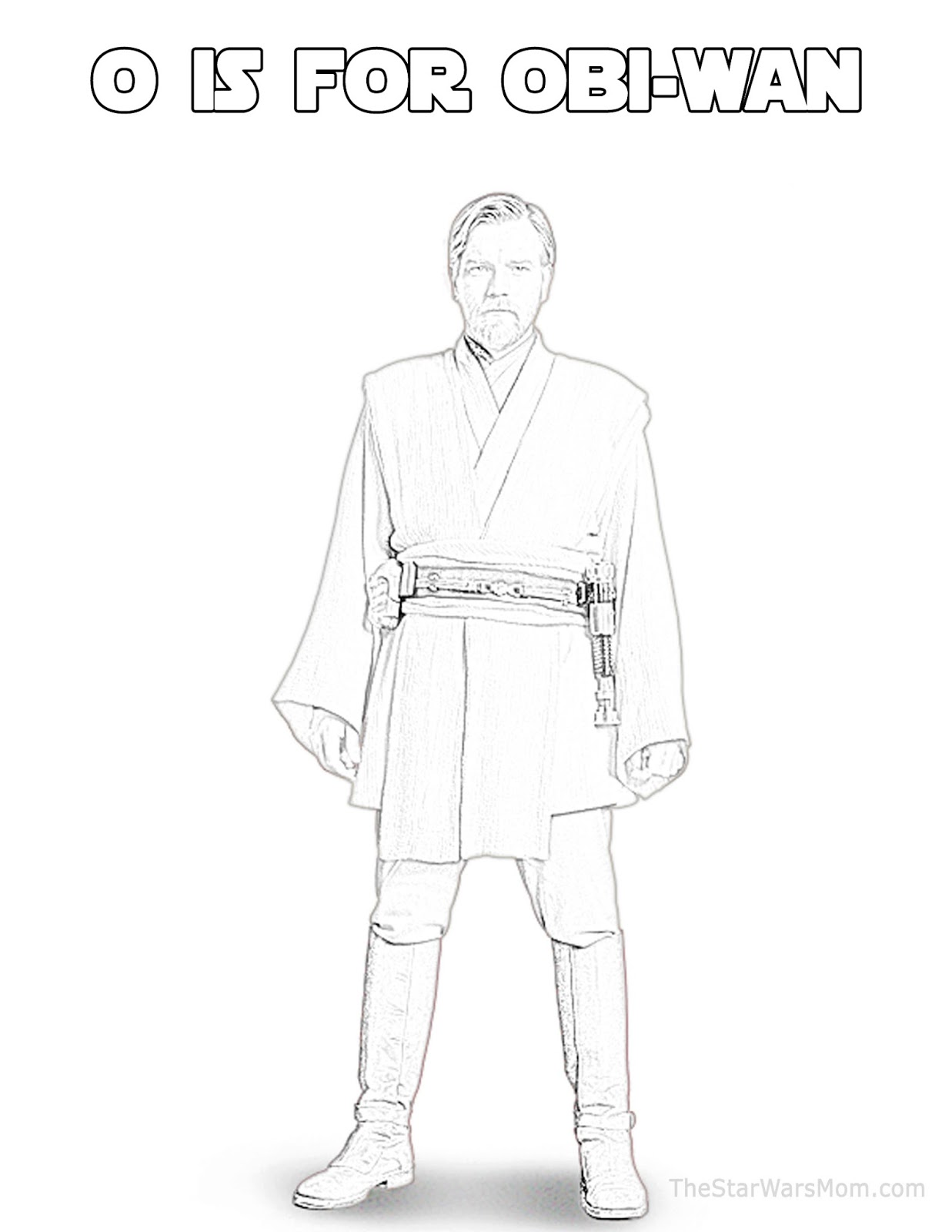O is for ObiWan Kenobi Star Wars Alphabet Coloring Page The