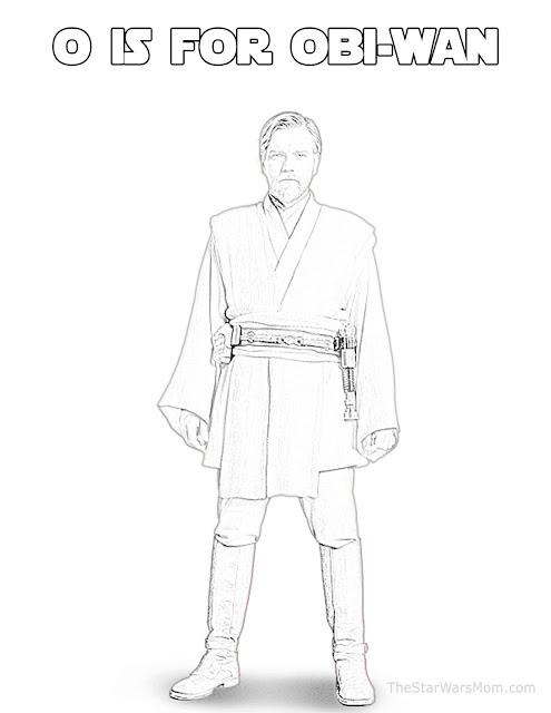 Obi-Wan Kenobi - Star Wars Alphabet Coloring Page