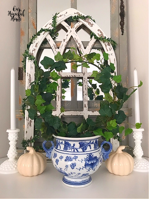 mantel decor cathedral window frame ivy topiary chinoiserie cache pot