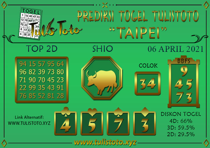 Prediksi Togel TAIPEI TULISTOTO 06 APRIL 2021