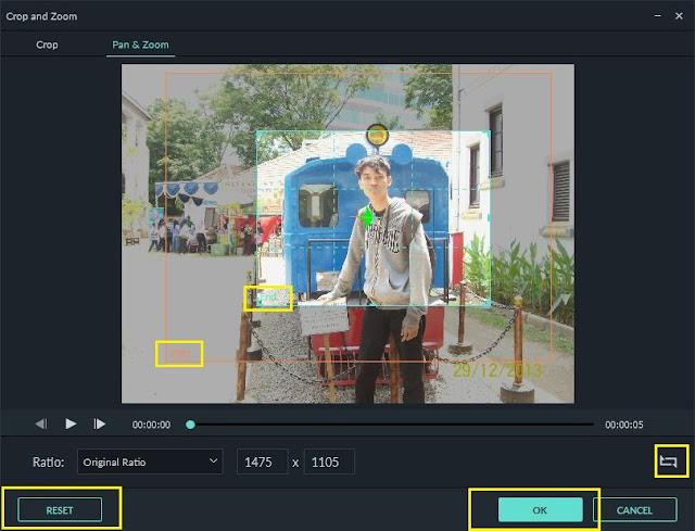 Membuat efek pan atau zoom di Filmora 9