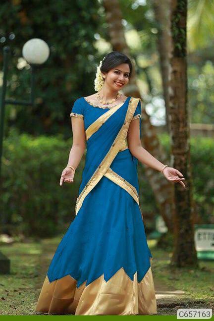 Multi-colour Banglori Silk With Border Choli With Lehenga