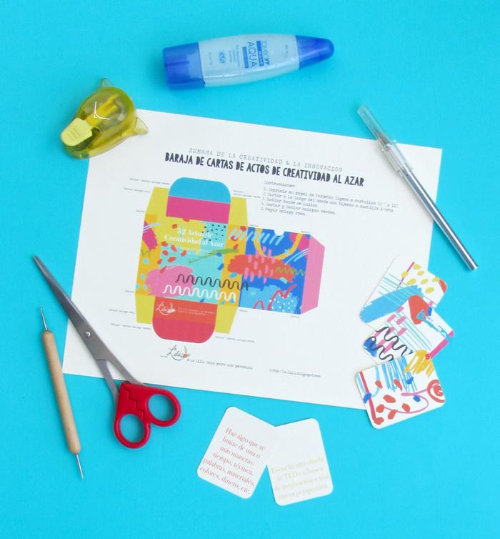 Cartas imprimibles gratuitas con ejercicios creativos, manualidades, imaginación, curiosidad, generación de ideas, caja