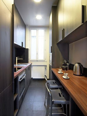Black narrow kitchen design ideas with minimalist design
