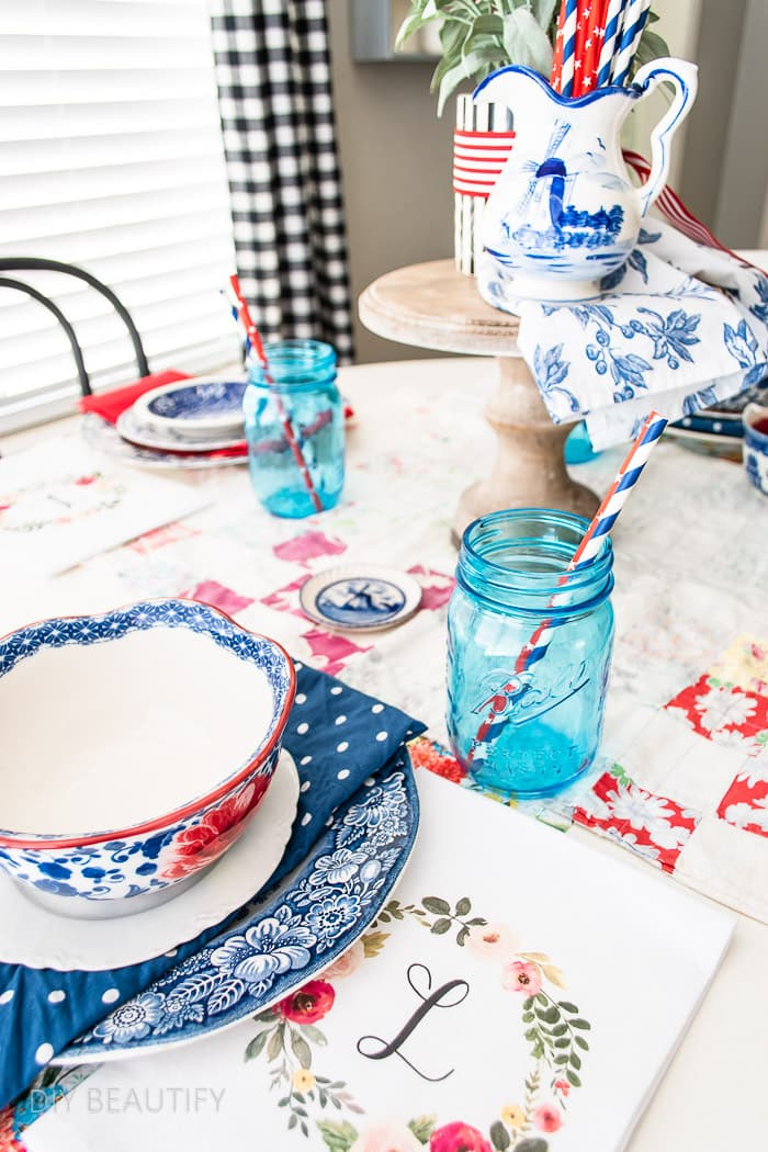 mason jars as drinking glasses on patriotic table