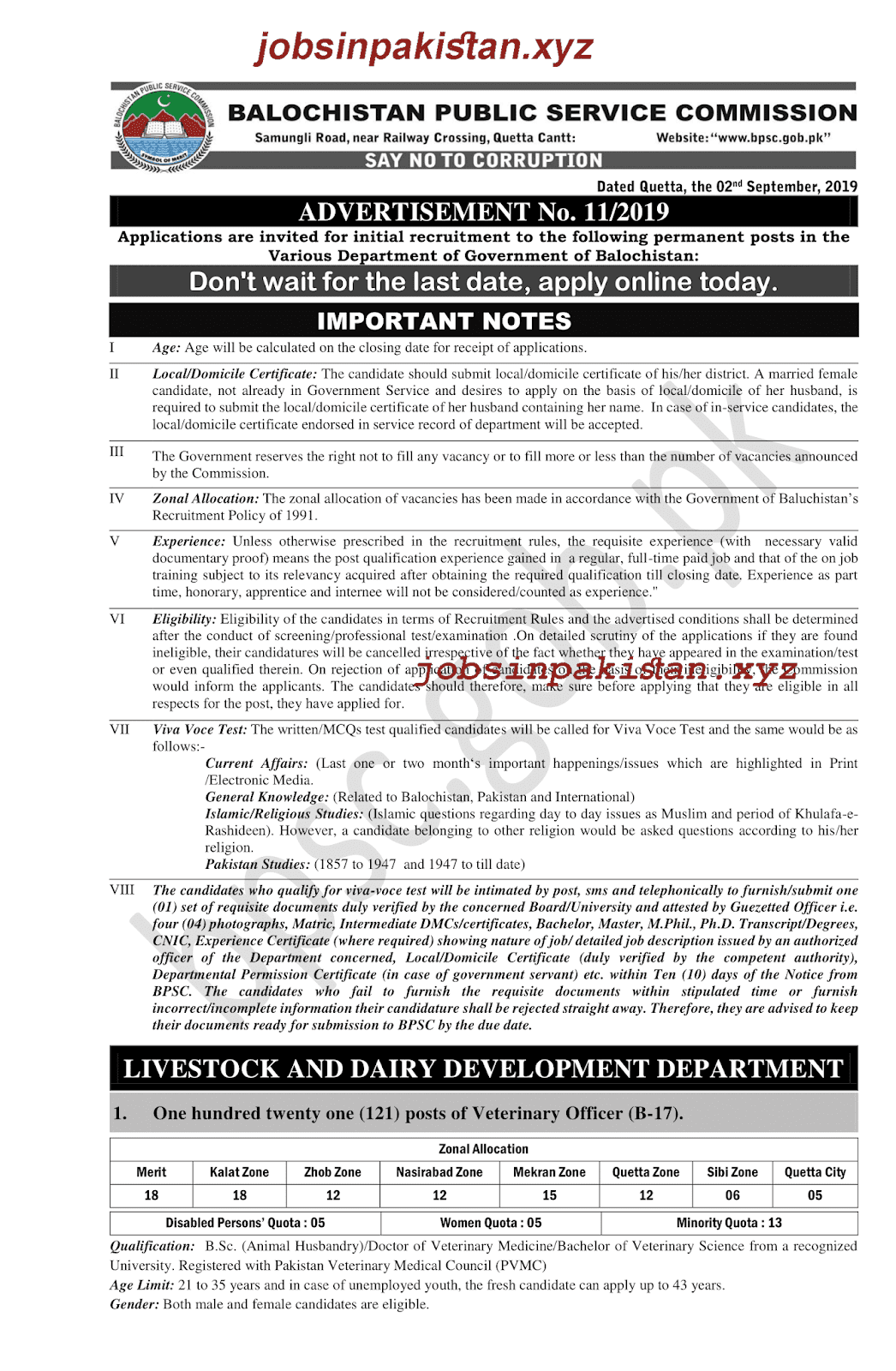 BPSC Advertisement 11/2019 Page No. 1/6