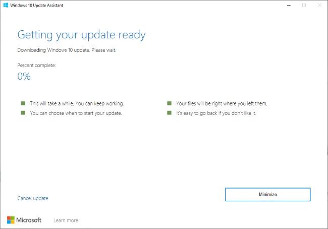 Proses install Windows 10 20H1 dengan update assistant