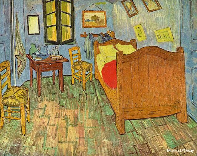 "Tela de Van Gogh ""O quarto em Arles"", no Museu D'Orsay, Paris"