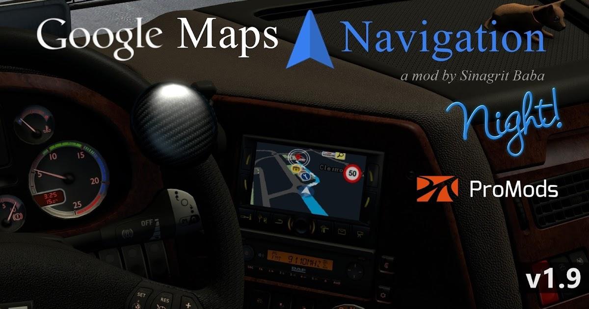 ETS 2 - Google Maps Navigation Night Version for ProMods v1 9