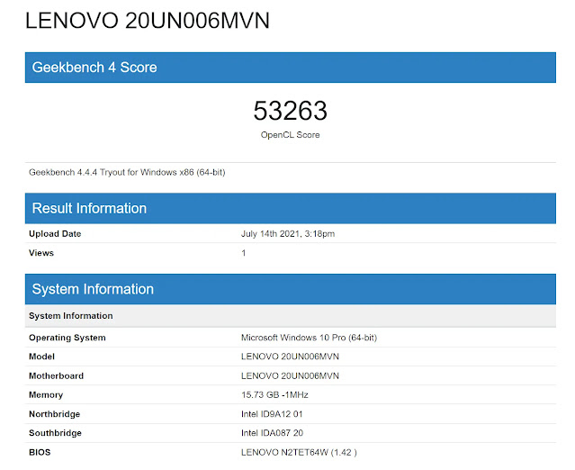 ...with 53,263 graphics performance points on GeekBench 4
