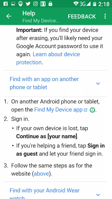 Google Play Protect Find My Device App Sign in as a Guest