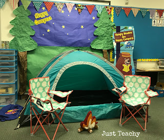 Happy Camper Classroom Setup, camping theme and activities