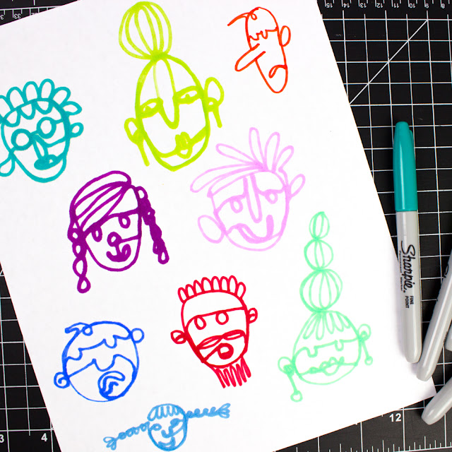 One Line Drawing Face Art Activity for Kids and Families