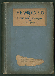 "A blue cover for ""The Wrong Box."""
