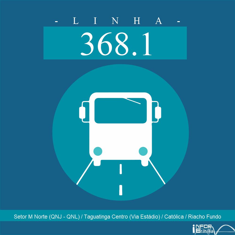 Horário de ônibus e itinerário 368.1 - Setor M Norte (QNJ - QNL) / Taguatinga Centro (Via Estádio) / Católica / Riacho Fundo