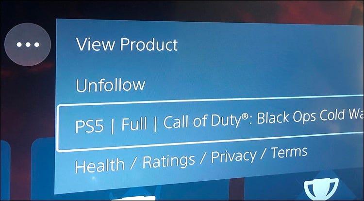 تعرض قائمة علامات القطع في ps5 أي إصدار من اللعبة غير مثبت