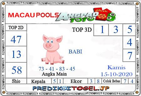 Prediksi Angpao Toto Macau Kamis 15 Oktober 2020