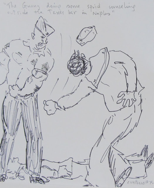 The Gunny conducting squid training - 1975 sketch by F. Lennox Campello