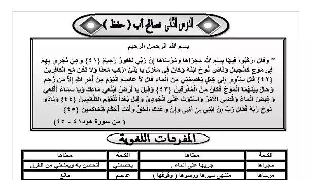 مذكرة لغة عربية منهج الصف السادس الابتدائي الترم الاول