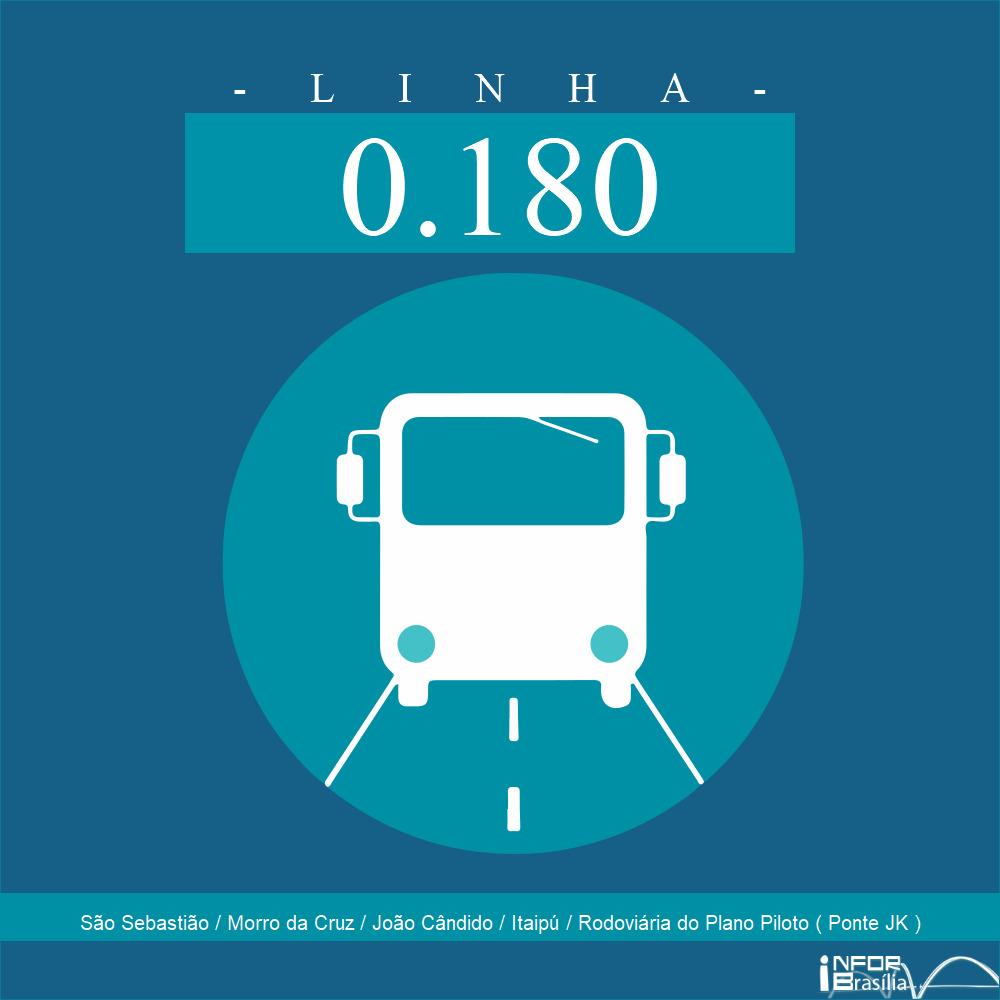 Horário de ônibus e itinerário 0.180 - São Sebastião / Morro da Cruz / João Cândido / Itaipú / Rodoviária do Plano Piloto ( Ponte JK )