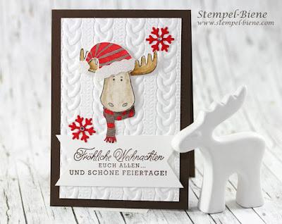 Stampinup Jollyfriends, Rentierkarte, Prägeform Zopfmuster, Weihachtskarte basteln, bastelworkshop, Weihnachtsgeschenke stampinup, stampinup recklinghausen, stempel-biene