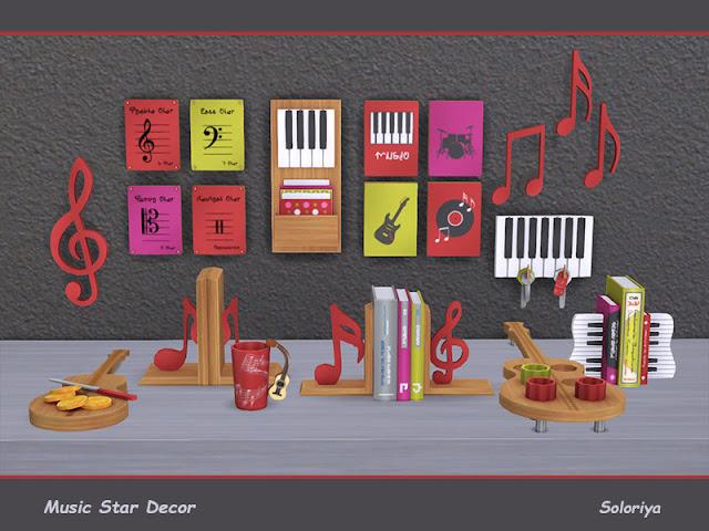 Music Star Decor Музыка Звездный Декор для The Sims 4 Декоративный набор для ваших музыкальных комнат. Включает в себя 12 предметов. 4 цветовых палитры. Предметы в наборе: - четыре настенных декора - два вида книг - декоративная настольная скульптура - две декоративные гитары - два вида картинок - кружка. Автор: soloriya