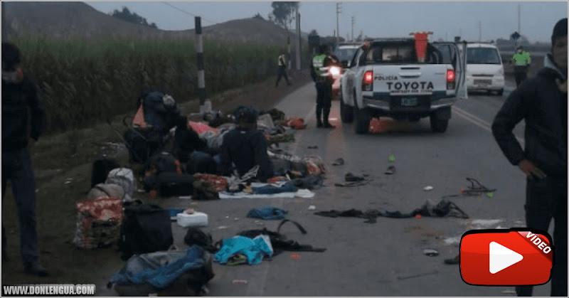 Una gandola arrolló a 12 emigrantes venezolanos que dormían al lado de la vía en Perú