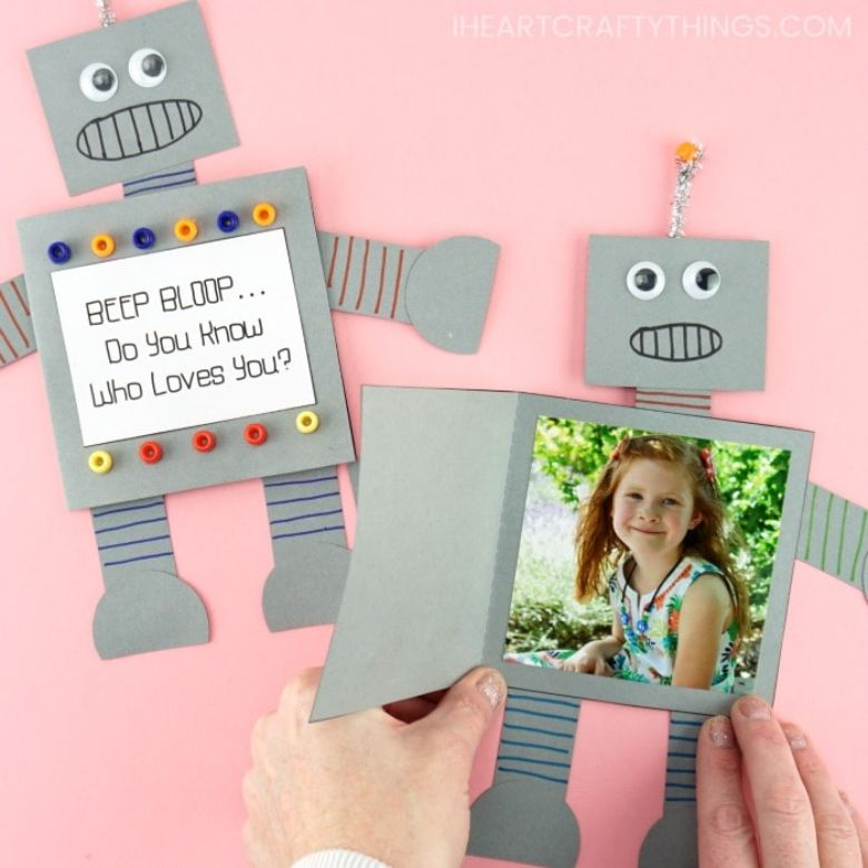 Paper Robot Father's Day Card Craft for Kids