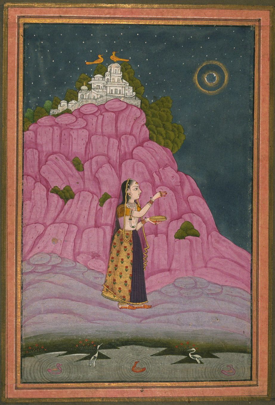 Unidentified Ragini, A Lady Performing a Ritual at Night with a Full Moon - Miniature Painting, Ragamala series, 19th Century