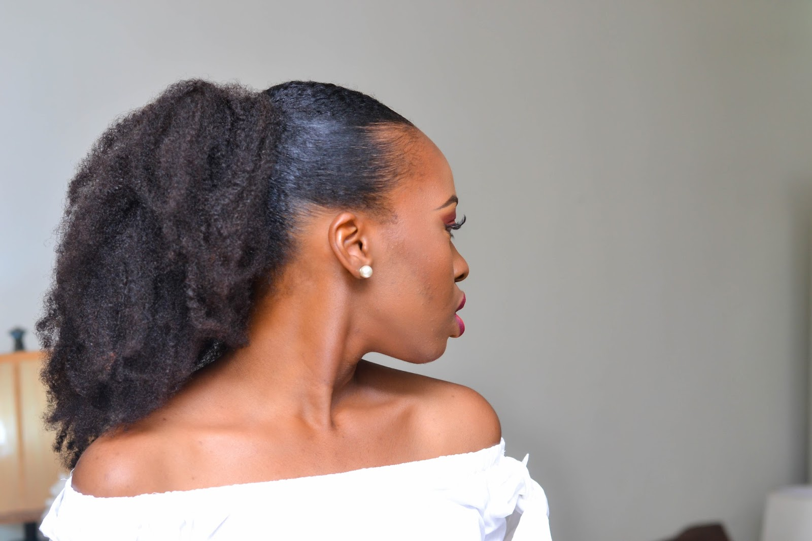 Sideview of Natural Hair Low Puff Ponytail
