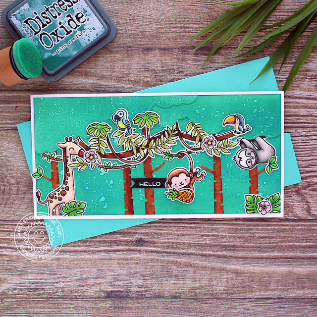 Sunny Studio Stamps: Tropical Scenes Savanna Safari Love Monkey Silly Sloths Hello Card by Vanessa Menhorn
