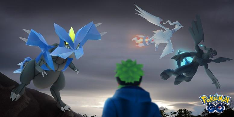 Reshiram, Zekrom e Kyurem em Pokémon GO