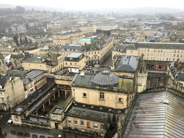 The view from Bath Abbey, looking over the Roman Baths to the West